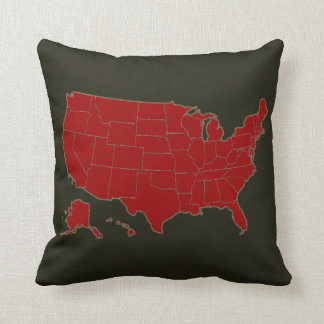 USA simple country-map Throw Cushion