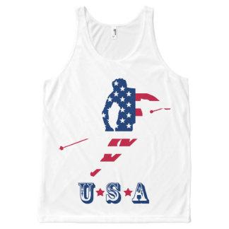 USA skiing American skier All-Over Print Tank Top