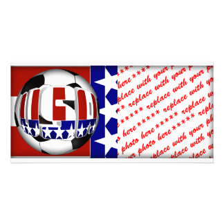 USA Soccer Ball Personalised Photo Card