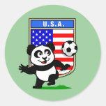 USA Soccer Panda Round Sticker