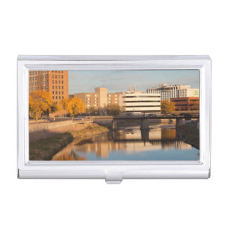 USA, South Dakota, Sioux Falls, City Skyline Business Card Holder