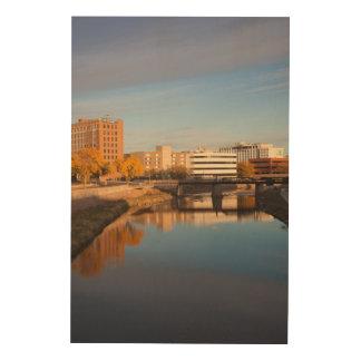 USA, South Dakota, Sioux Falls, City Skyline Wood Prints