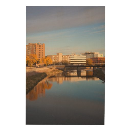USA, South Dakota, Sioux Falls, City Skyline Wood Canvases