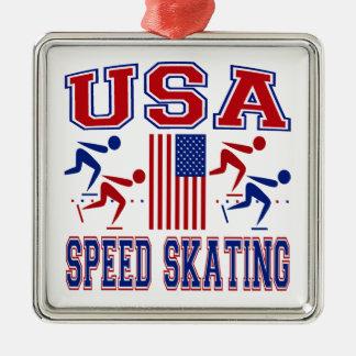 USA Speed Skating Christmas Ornament