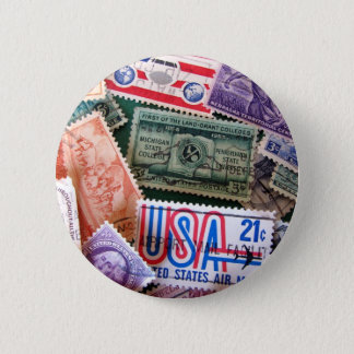 USA Stamp Collage Button Badge