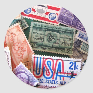 USA Stamp Collage Stickers