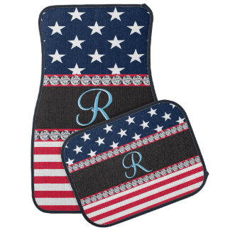 USA Stars and Stripes Diamond 3d Monogram Initial Car Mat