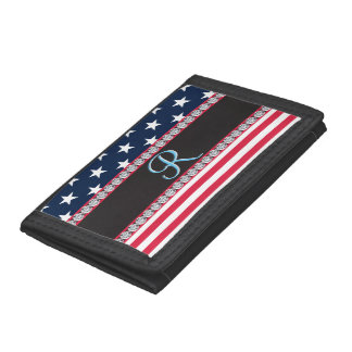 USA Stars and Stripes Diamond 3d Monogram Initial Tri-fold Wallets