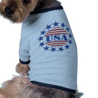 USA Stars and Stripes Ringer Dog Shirt
