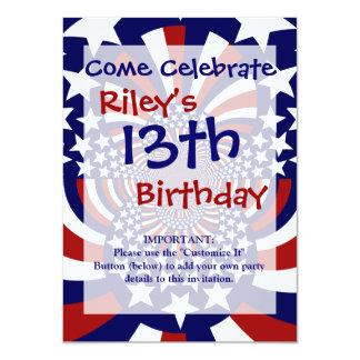"USA Stars and Stripes Patriotic Design 4.5"" X 6.25"" Invitation Card"