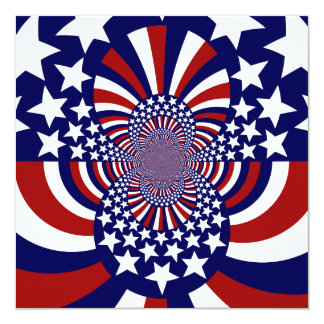 "USA Stars and Stripes Patriotic Design 5.25"" Square Invitation Card"