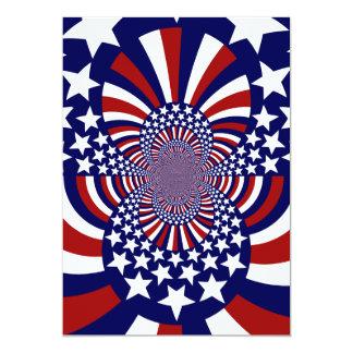 "USA Stars and Stripes Patriotic Design 5"" X 7"" Invitation Card"