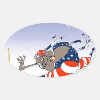 USA stars and stripes, tony fernandes Oval Sticker