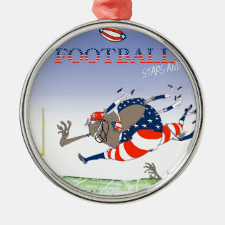 USA stars and stripes, tony fernandes Silver-Colored Round Decoration