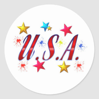 USA Stars Classic Round Sticker