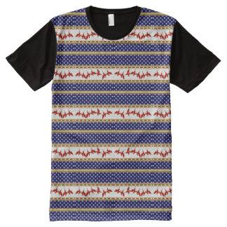 USA Stars Red Bald Eagle Blue Panel T-Shirt
