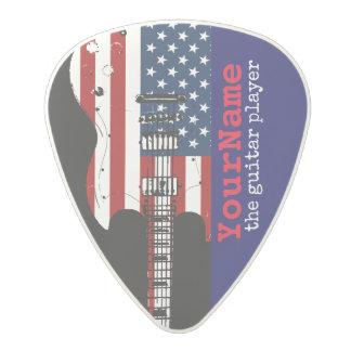 USA stars & stripes electric-guitar red&blue Polycarbonate Guitar Pick
