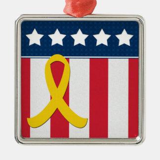 USA Stars Stripes Yellow Ribbon Silver Ornament