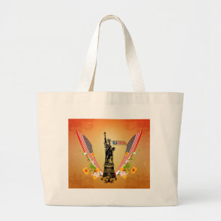 USA Statue of Liberty, flags and flowers Bags