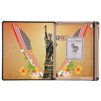 USA Statue of Liberty, flags and flowers iPad Cover