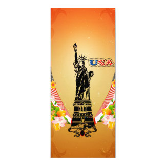 USA Statue of Liberty, flags and flowers Personalized Invitations