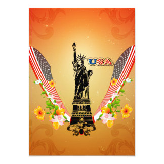 USA Statue of Liberty, flags and flowers Custom Invite
