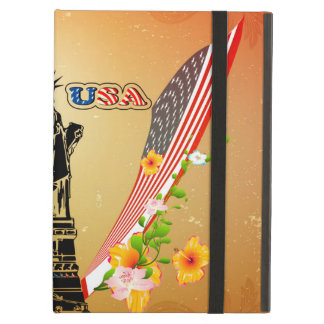 USA Statue of Liberty, flags and flowers iPad Air Cases