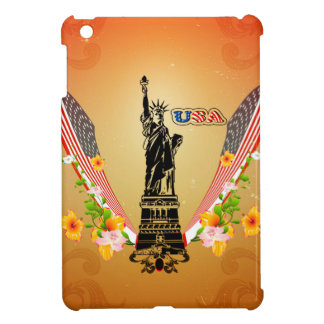 USA Statue of Liberty, flags and flowers Case For The iPad Mini