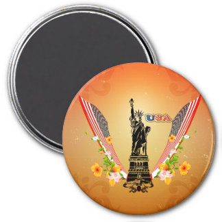 USA Statue of Liberty, flags and flowers Magnets