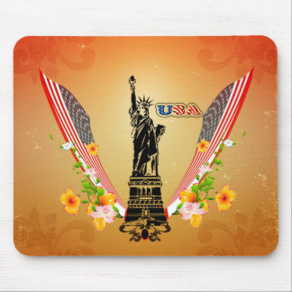 USA Statue of Liberty, flags and flowers Mouse Pad