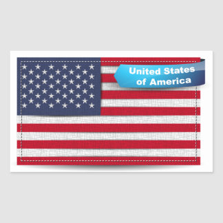 USA Stitched Textile Flag Concept Rectangle Stickers
