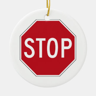 USA Stop Sign Round Ceramic Decoration