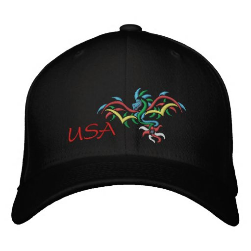 USA SUN  DRAGON EMBROIDERED BASEBALL CAP