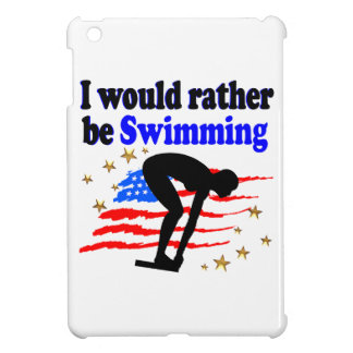 USA SWIMMER DESIGN I WOULD RATHER BE SWIMMING COVER FOR THE iPad MINI
