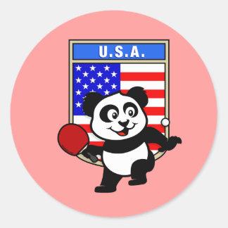 USA Table Tennis Panda Round Stickers