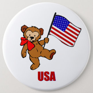 USA Teddy Bear Button