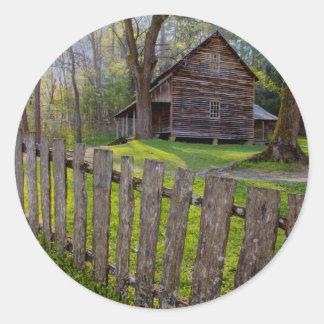 USA, Tennessee, Cabin In Cades Cove Round Sticker