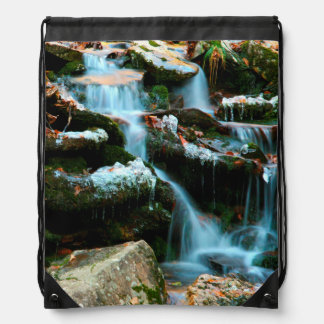 USA, Tennessee. Frosty Early Spring Creek Drawstring Bag