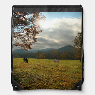 USA, Tennessee. Horses In Cades Cove Valley Drawstring Bag