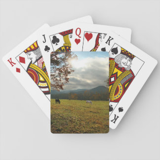 USA, Tennessee. Horses In Cades Cove Valley Playing Cards