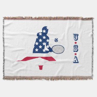 USA Tennis American player Throw Blanket