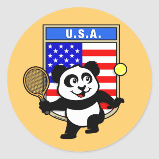 USA Tennis Panda Round Sticker