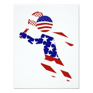 "USA Tennis Player - Mens Tennis 4.25"" X 5.5"" Invitation Card"
