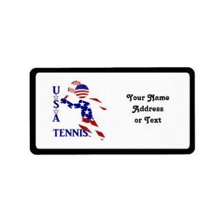 USA Tennis Player - Men's Tennis Address Label