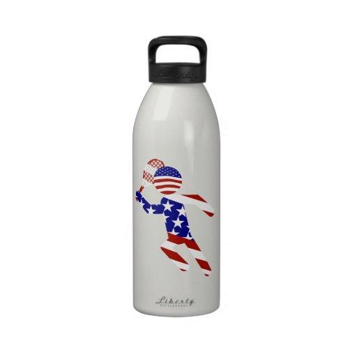 USA Tennis Player - Mens Tennis Reusable Water Bottles