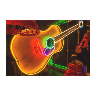 USA, Texas, Austin. Neon Guitar At Blackmail Canvas Print