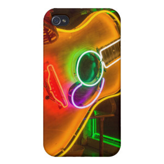 USA, Texas, Austin. Neon Guitar At Blackmail Cover For iPhone 4