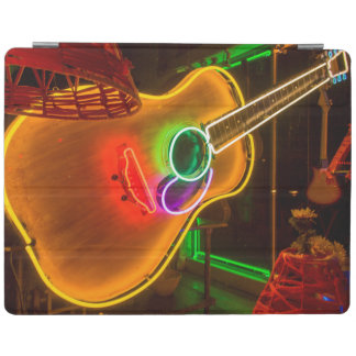 USA, Texas, Austin. Neon Guitar At Blackmail iPad Cover