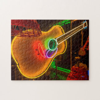 USA, Texas, Austin. Neon Guitar At Blackmail Jigsaw Puzzle