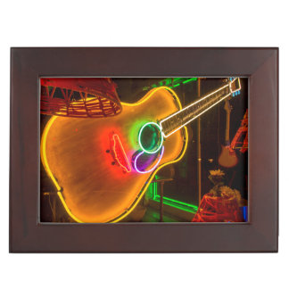 USA, Texas, Austin. Neon Guitar At Blackmail Keepsake Box